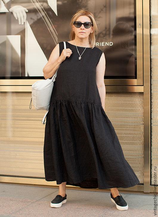Платья ручной работы. Ярмарка Мастеров - ручная работа. Купить Платье без  рукавов из черного ... e6a2bbdb462