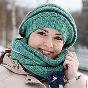 Аксессуары ручной работы. Ярмарка Мастеров - ручная работа Шапка шарф вязаный зеленый, мятный, травяной, белый, синий. Handmade.