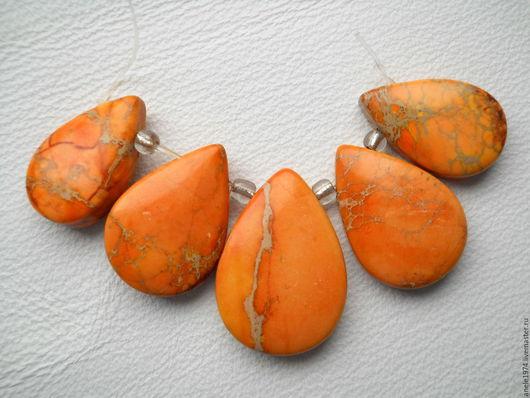 """Для украшений ручной работы. Ярмарка Мастеров - ручная работа. Купить Набор кабошонов из варисцита  """"Апельсин"""". Handmade. Оранжевый, варисцит"""