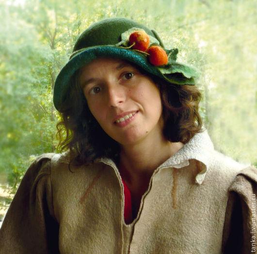 Шляпы ручной работы. Ярмарка Мастеров - ручная работа. Купить Шляпка с физалисом. Handmade. Тёмно-зелёный, женская шляпка