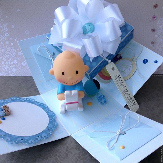 Подарки для новорожденных, ручной работы. Ярмарка Мастеров - ручная работа. Купить Коробочка-открытка для малыша Magic box. Handmade. Голубой