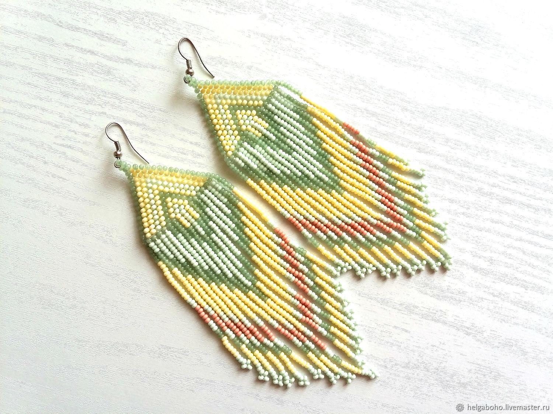 Earrings-brush: Earrings a combination of mint and dusty colors, Tassel earrings, Lobnya,  Фото №1