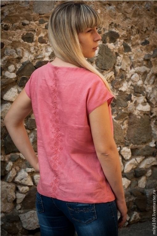 Блузки ручной работы. Ярмарка Мастеров - ручная работа. Купить Блуза Молвинец. Handmade. Коралловый, лён