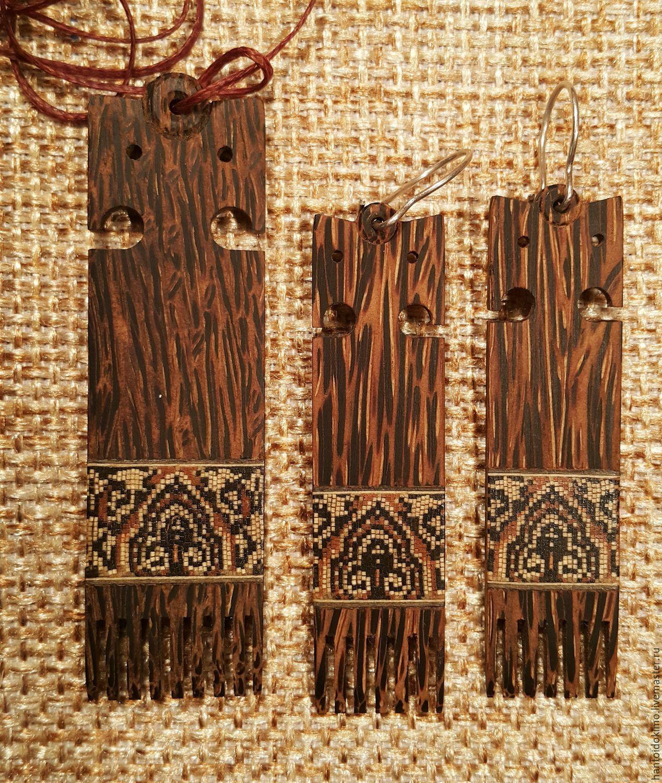 Set of jewelry made Of sugar Palm pendant earrings Slavic, mosaic, Jewelry Sets, Kursk,  Фото №1