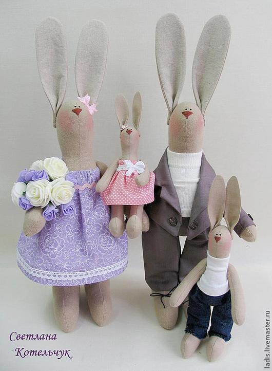 """Игрушки животные, ручной работы. Ярмарка Мастеров - ручная работа. Купить Пасхальные Зайцы Тильда """" Наша семья"""". Handmade."""