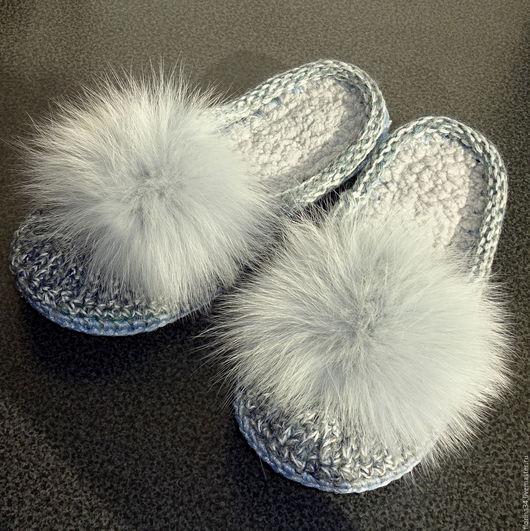 Обувь ручной работы. Ярмарка Мастеров - ручная работа. Купить Тапочки-шлепки вязаные, серые. Handmade. Тапочки, подарок девушке