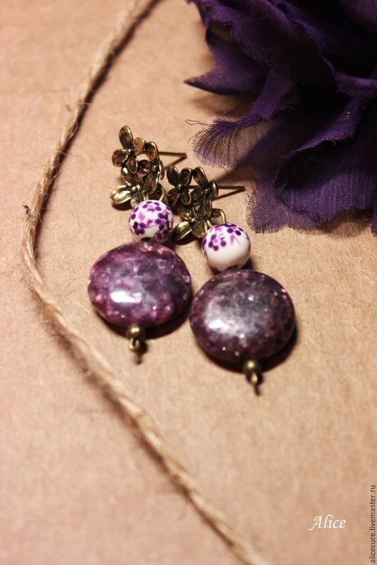 """Серьги ручной работы. Ярмарка Мастеров - ручная работа. Купить Сережки """"Фиолетовый сад"""". Handmade. Тёмно-фиолетовый, серьги"""