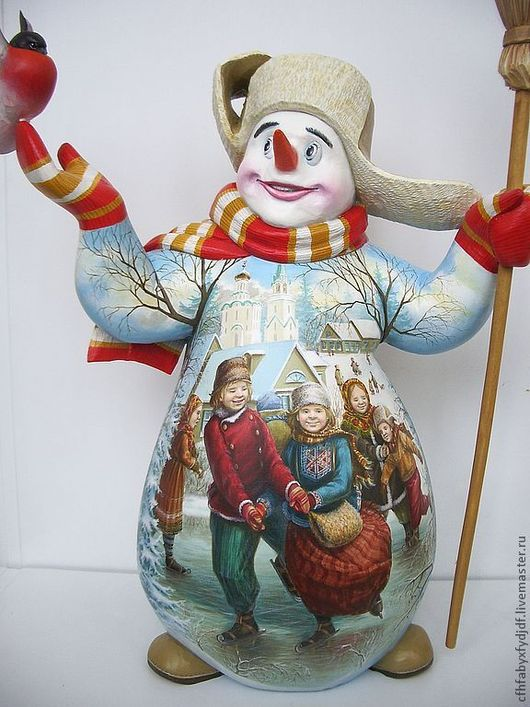 Сувениры ручной работы. Ярмарка Мастеров - ручная работа. Купить снеговик. Handmade. Акрил, миниатюра, Роспись по дереву, акрил