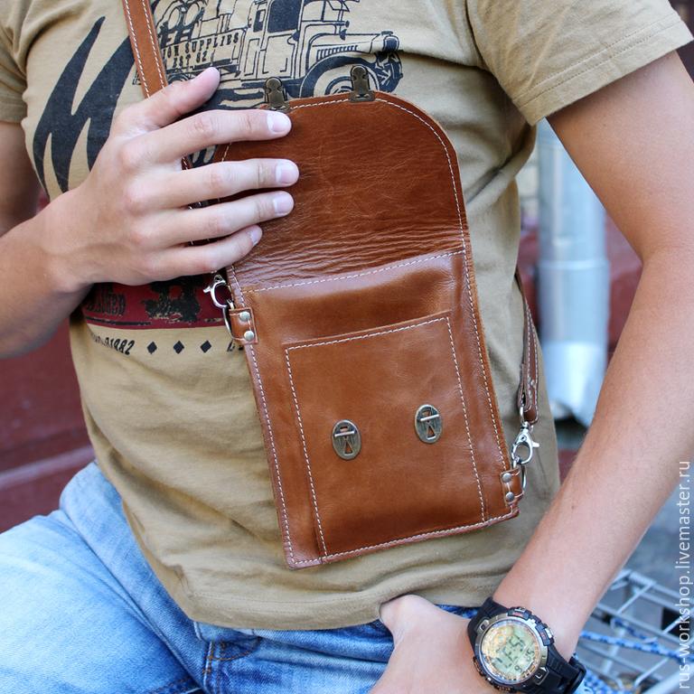 f020a27f70ca Мужские сумки ручной работы. Заказать Коричневая мужская сумка из натуральной  кожи, сумка для документов ...
