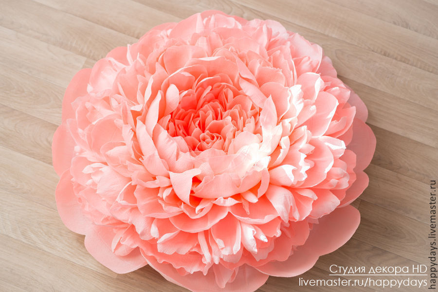 Цветок пион из бумаги