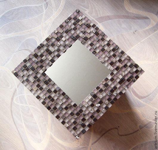 """Зеркала ручной работы. Ярмарка Мастеров - ручная работа. Купить Зеркало в мозаичном обрамлении """"Морской прибой"""". Handmade. Бледно-сиреневый"""