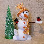 Куклы и игрушки ручной работы. Ярмарка Мастеров - ручная работа Снеговик и снегири. Handmade.