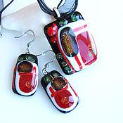 Украшения handmade. Livemaster - original item Handmade Fused glass Jewelry Set. Black White Red Jewelry. Stunning de. Handmade.