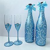 Свадебный салон ручной работы. Ярмарка Мастеров - ручная работа Свадебный набор. Свадебные бокалы и шампанское. Handmade.