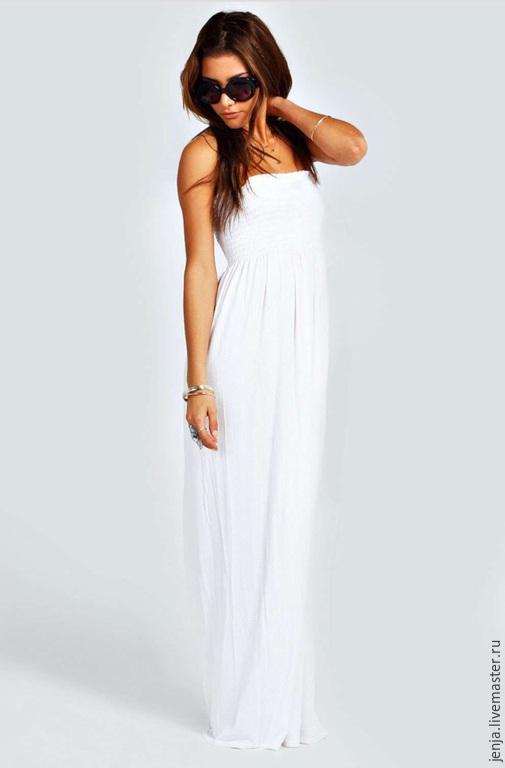 Платья ручной работы. Ярмарка Мастеров - ручная работа. Купить Rainbow bandeau maxi dress in white. Handmade. Белый