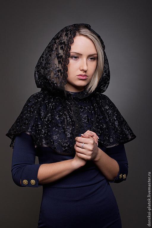 """Шали, палантины ручной работы. Ярмарка Мастеров - ручная работа. Купить платок в храм """"Катерина"""". Handmade. Черный, платок в церковь"""