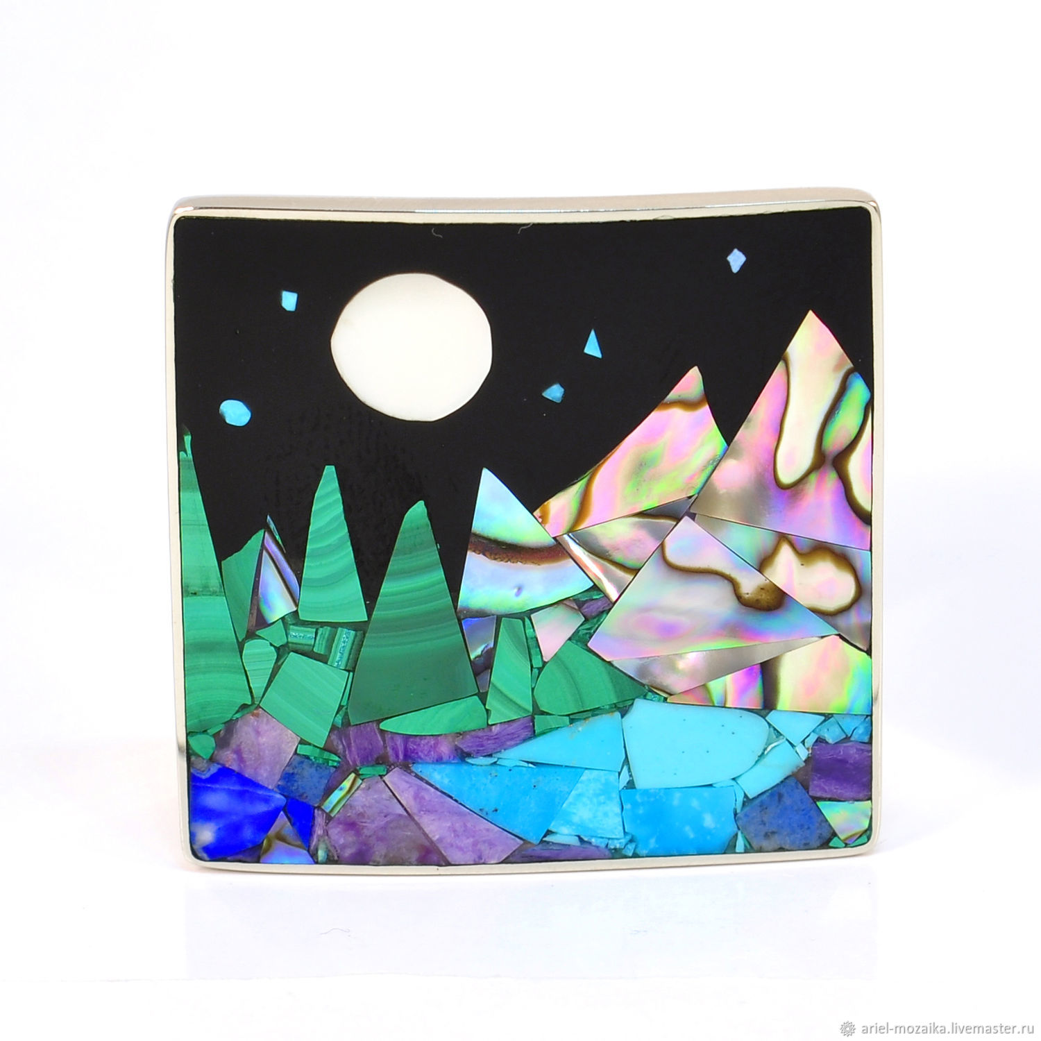 BROOCH `of the Mountains, lake, forest, night` ARIEL - Alena - Moscow MOSAIC Brooch with turquoise Brooch with pearl Brooch with charoite Brooch with pearl Brooch with malachite