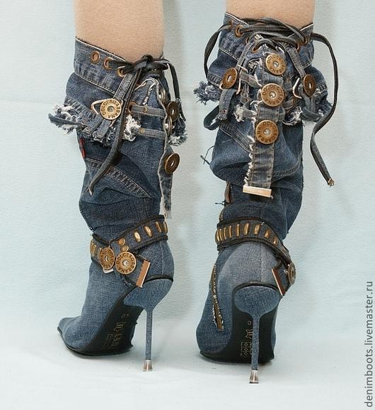 """Обувь ручной работы. Ярмарка Мастеров - ручная работа. Купить Скидка!!! Сапоги джинсовые """"Индиго"""" на шпильке. Handmade. Тёмно-синий"""