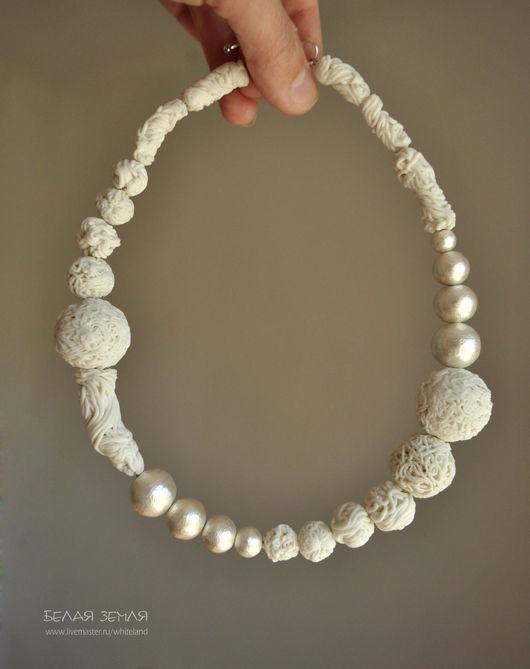 """Колье, бусы ручной работы. Ярмарка Мастеров - ручная работа. Купить Ожерелье с японским жемчугом """"Фарфоровый армюр"""". Handmade."""