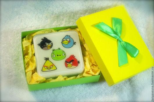 Приколы ручной работы. Ярмарка Мастеров - ручная работа. Купить Мыло Angry Birds в подарочной коробочке. Handmade. Прикол, игра