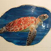 """Картины и панно ручной работы. Ярмарка Мастеров - ручная работа мозаика """"морская черепаха"""". Handmade."""