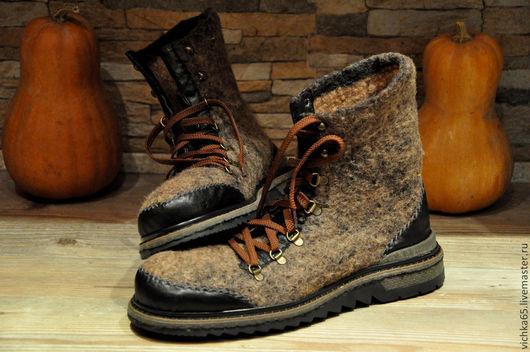 """Обувь ручной работы. Ярмарка Мастеров - ручная работа. Купить Ботинки валяные""""Современный Шерлок"""" TR. Handmade. Коричневый, термопласт"""