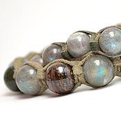 Украшения handmade. Livemaster - original item Set Shamballa bracelets with labradorite, jade and Bronzit suede. Handmade.