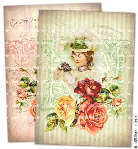 """Декупаж и роспись ручной работы. Ярмарка Мастеров - ручная работа. Купить Картинки для принтерных распечаток: Комплект """"Girl with roses"""". Handmade."""