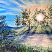 Pictures handmade. Livemaster - original item Water landscape original oil painting on canvas Auroral. Handmade.