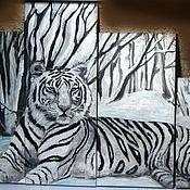 """Картины и панно ручной работы. Ярмарка Мастеров - ручная работа Модульная картина """"Белый тигр"""". Handmade."""