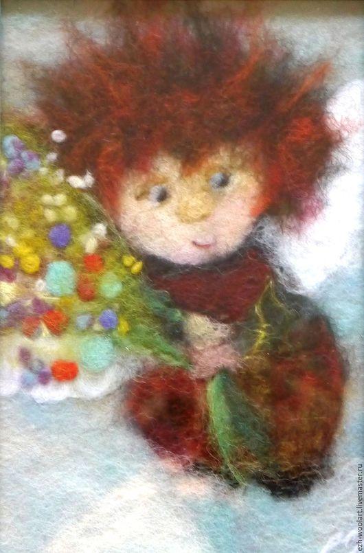 Фантазийные сюжеты ручной работы. Ярмарка Мастеров - ручная работа. Купить Картина шерстью Маленький Ангел. Букет для тебя.. Handmade.