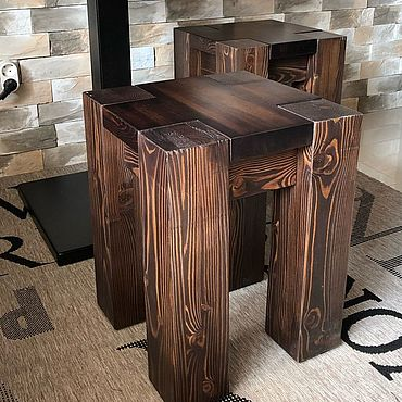 Мебель ручной работы. Ярмарка Мастеров - ручная работа Табурет из массива лиственницы. Handmade.