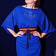 Платья ручной работы. Ярмарка Мастеров - ручная работа. Купить Синее платье-кимоно. Handmade. Тёмно-синий, платье вязаное