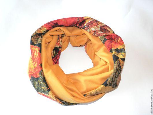 Шарфы и шарфики ручной работы. Ярмарка Мастеров - ручная работа. Купить Снуд, шарф-хомут горчично-цветочный, хлопок.. Handmade.