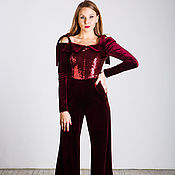 Одежда handmade. Livemaster - original item Burgundy evening jumpsuit. Handmade.