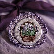 Украшения handmade. Livemaster - original item In memory of Provence. Basket of lavender. Brooch textile. Handmade.