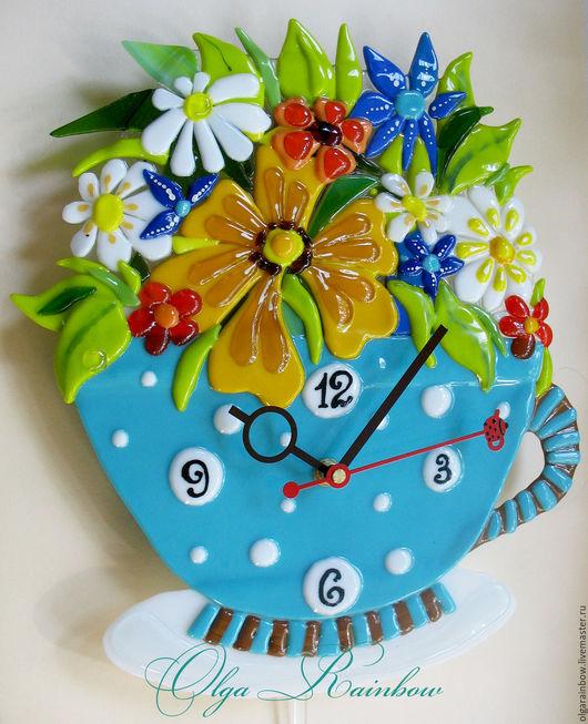 """Часы для дома ручной работы. Ярмарка Мастеров - ручная работа. Купить Часы фьюзинг с маятником """"Цветочный чай"""". Handmade. Комбинированный"""