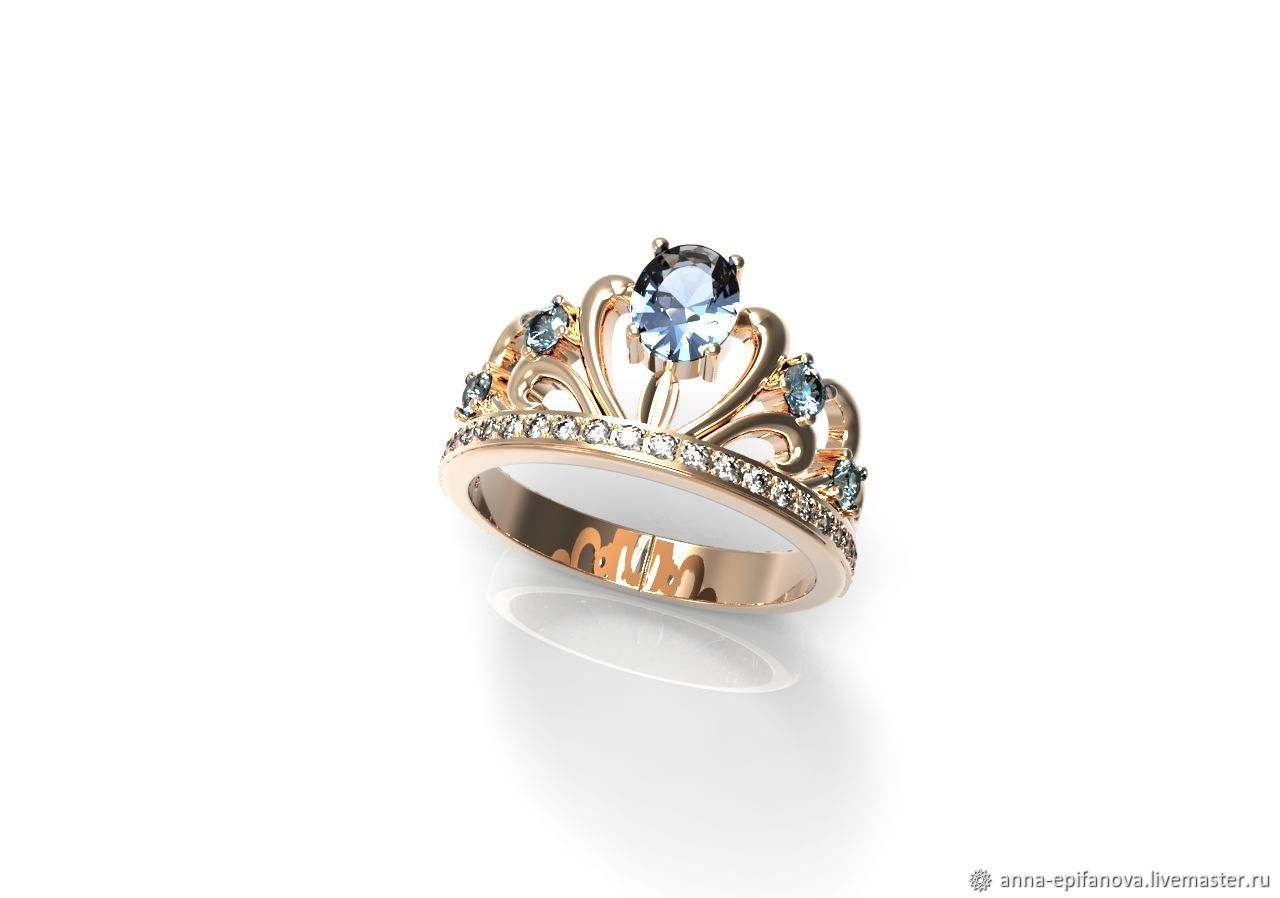Queen's Crown ring in 585 gold with stones (K5), Rings, Chelyabinsk,  Фото №1