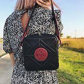 Сумки и аксессуары handmade. Livemaster - original item Square bag made of genuine leather color black Burgundy(lingonberry). Handmade.