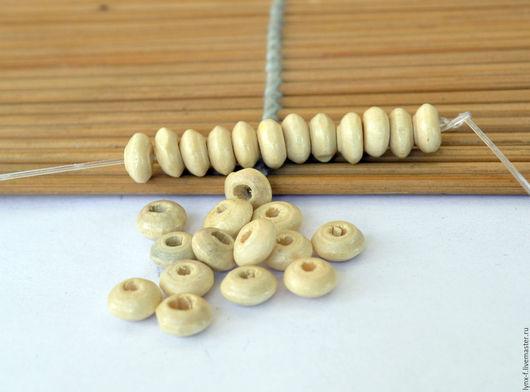Для украшений ручной работы. Ярмарка Мастеров - ручная работа. Купить 20шт Бусины рондели деревянные светлые 6х3мм. Handmade.