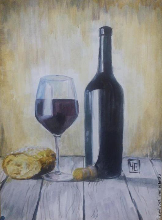 """Натюрморт ручной работы. Ярмарка Мастеров - ручная работа. Купить Натюрморт """"Бокал бургундского вина"""" (и французский багет). Handmade."""