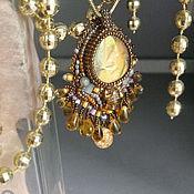 Украшения handmade. Livemaster - original item Solar pendant with yellow bright labradorite, drop pendants, beads. Handmade.