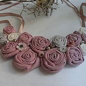 Украшения ручной работы. Ярмарка Мастеров - ручная работа Колье текстильное льняное розовое. Handmade.