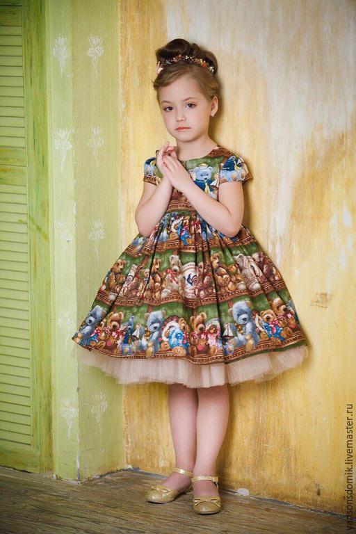 """Одежда для девочек, ручной работы. Ярмарка Мастеров - ручная работа. Купить Платье для девочки """"Мими Мишки"""". Handmade. Болотный"""