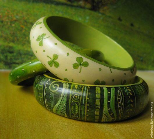 Браслеты ручной работы. Ярмарка Мастеров - ручная работа. Купить Браслеты Чай из трилистника. Handmade. Зеленый, цвет слоновой кости