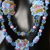 Украшения handmade. Livemaster - original item Delicate necklace lampwork blue double row Barvinky. Handmade.