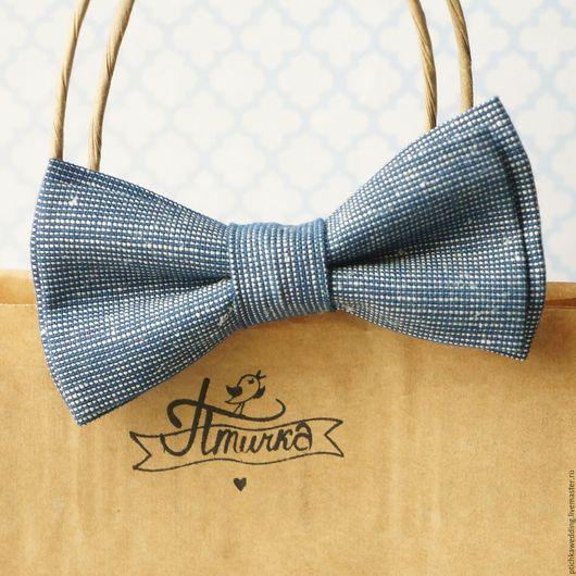 Галстуки, бабочки ручной работы. Ярмарка Мастеров - ручная работа. Купить Галстук-бабочка из джинсового льна. Handmade. Синий