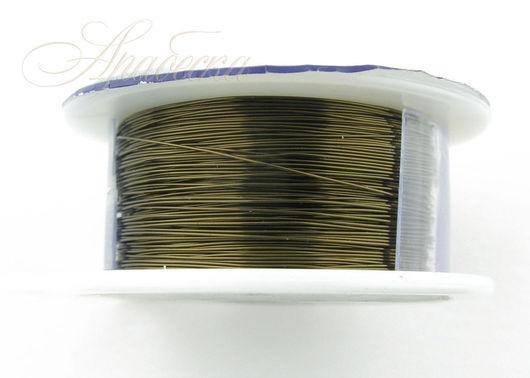 Проволока медная посеребренная цвета античной бронзы 0.33мм США 36.58м/уп