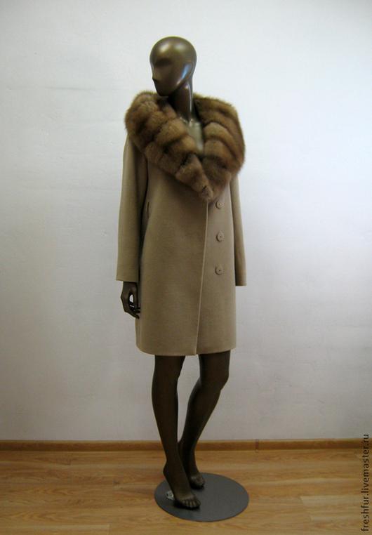 """Верхняя одежда ручной работы. Ярмарка Мастеров - ручная работа. Купить пальто из кашемира с куницей """"Анна"""". Handmade. Бежевый"""
