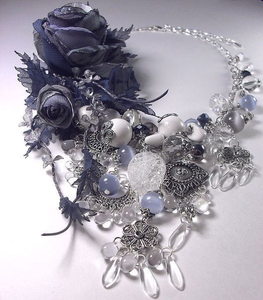 Jewelry Sets handmade. Livemaster - handmade. Buy Silver evening. Kit. Necklace, two brooches and earrings..Necklace, rose